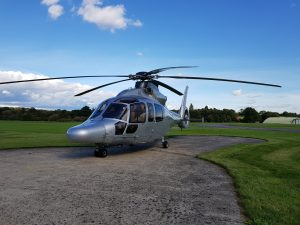 8 Seat Helicopter on the pad outside the office at Redhill Aerodrome